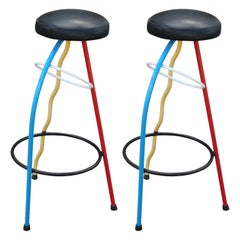 Pair of Javier Mariscal Memphis Duplex Bar Stools in Red, Blue, and Yellow
