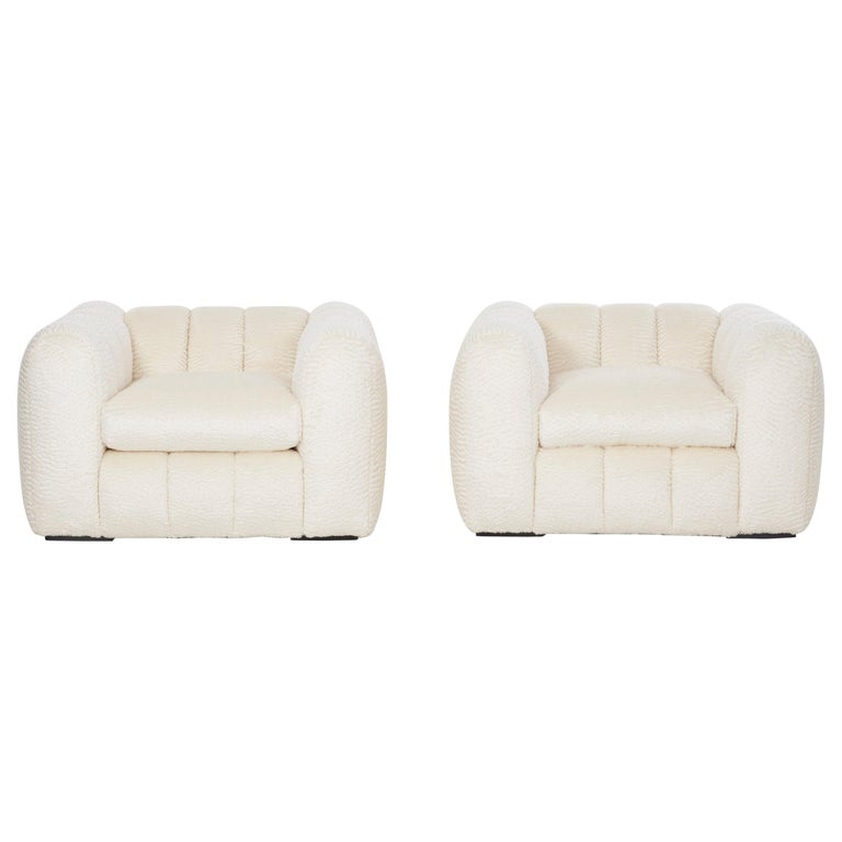 Pair of Jay Spectre Polar bear Style Lounge Chairs For Sale