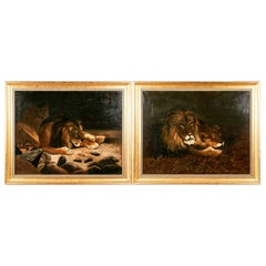 Pair of J.B. Gibson 'American, Early 20th Century Oil on Canvas' Depicting Lions