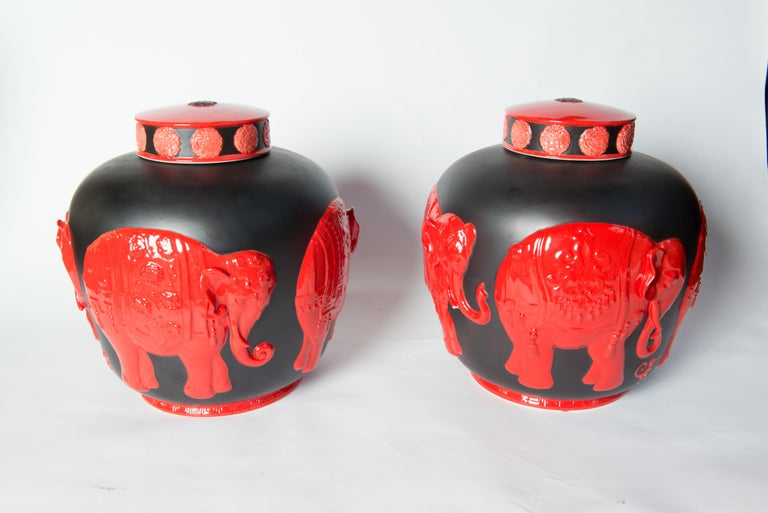 Pair of Jean Boggio Coral Red and Black Elephant Lidded Ginger Jars For Sale 4