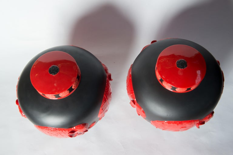 Pair of Jean Boggio Coral Red and Black Elephant Lidded Ginger Jars In Excellent Condition For Sale In Stamford, CT