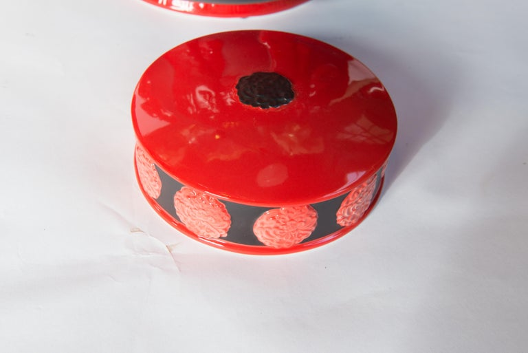 Pair of Jean Boggio Coral Red and Black Elephant Lidded Ginger Jars For Sale 1