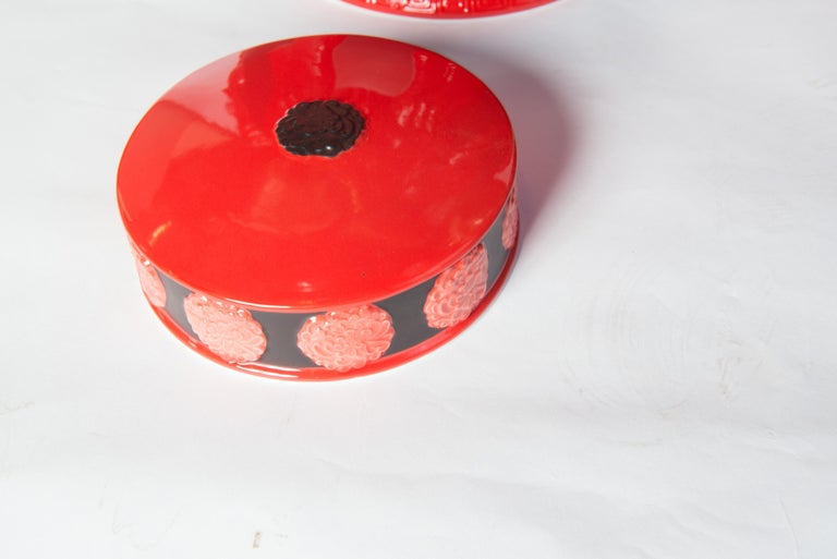 Pair of Jean Boggio Coral Red and Black Elephant Lidded Ginger Jars For Sale 2