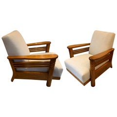Pair of Jean Charles Dudouyt Oak Frame Upholstered Club Chairs, France, 1930s