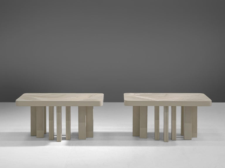 Post-Modern Pair of Jean Claude Dresse Side Tables in Sculpted Off-White Resin For Sale