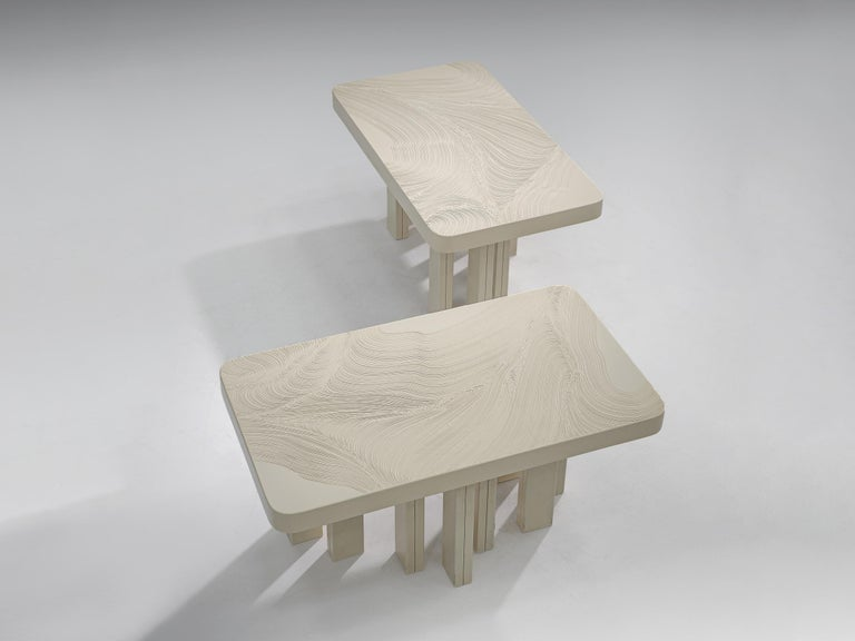 Belgian Pair of Jean Claude Dresse Side Tables in Sculpted Off-White Resin For Sale