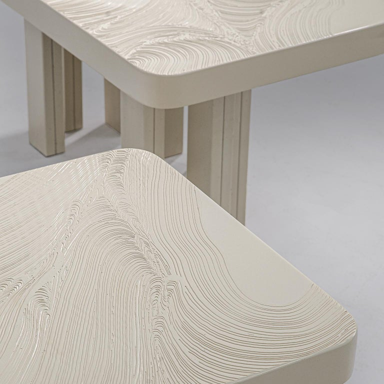 Late 20th Century Pair of Jean Claude Dresse Side Tables in Sculpted Off-White Resin For Sale