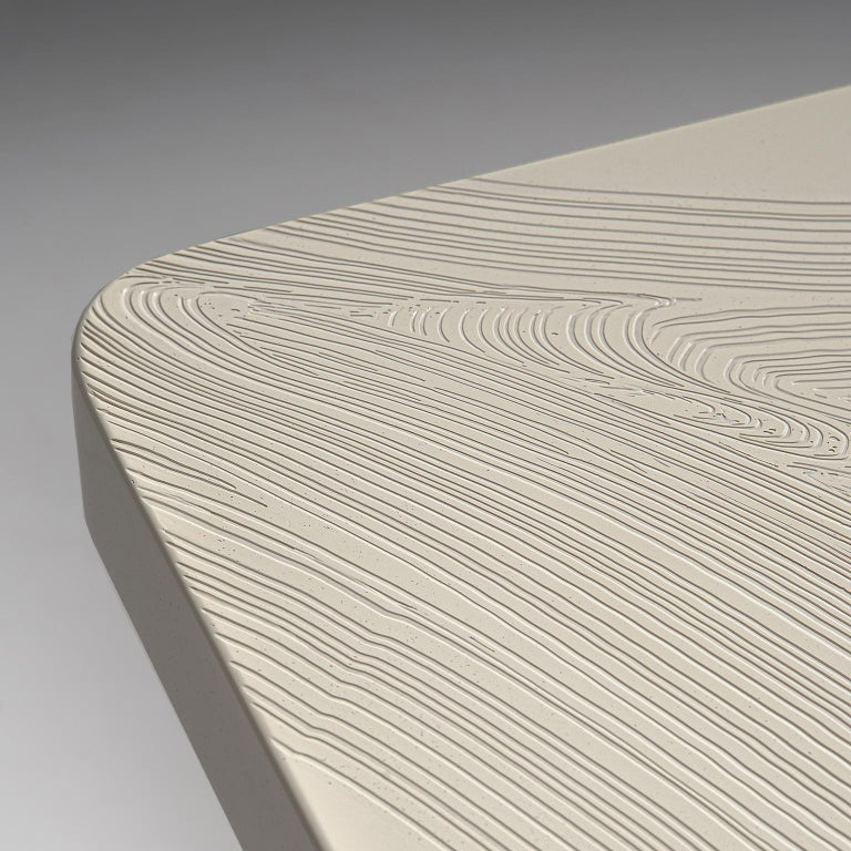 Steel Pair of Jean Claude Dresse Side Tables in Sculpted Off-White Resin For Sale