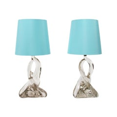 Pair of Jean Daum Style Twisted Crystal Table Lamps, French, 1960s
