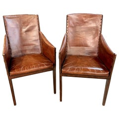Pair of Jean Michel Frank Style Arm Chairs, Leather and Metal