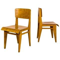 """Pair of Jean Prouvé """"Chaise En Bois"""" Chairs, circa 1940, France"""