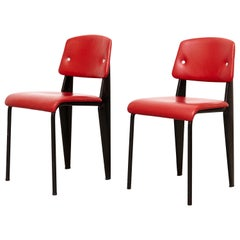 Pair of Jean Prouvé Mid-Century Modern Upholstered Standard Chairs, circa 1950