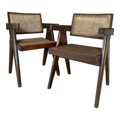 Pair of Jeanneret Floating Back Armchairs