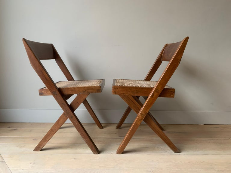 Hand-Crafted Pair of Jeanneret Library Chairs For Sale