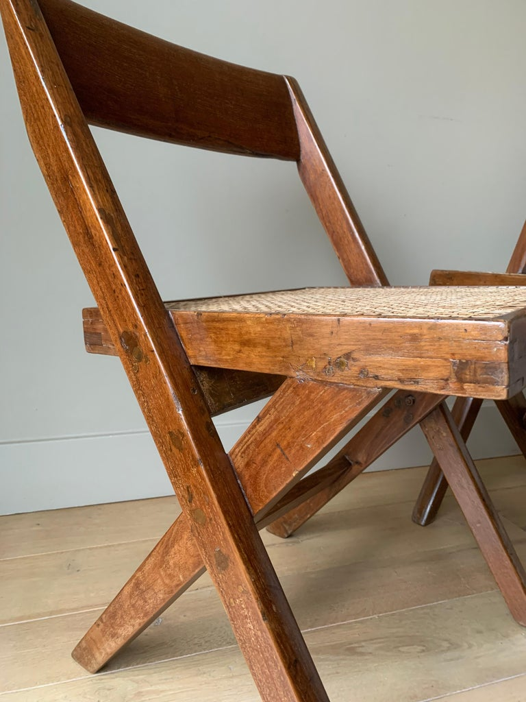 Mid-20th Century Pair of Jeanneret Library Chairs For Sale