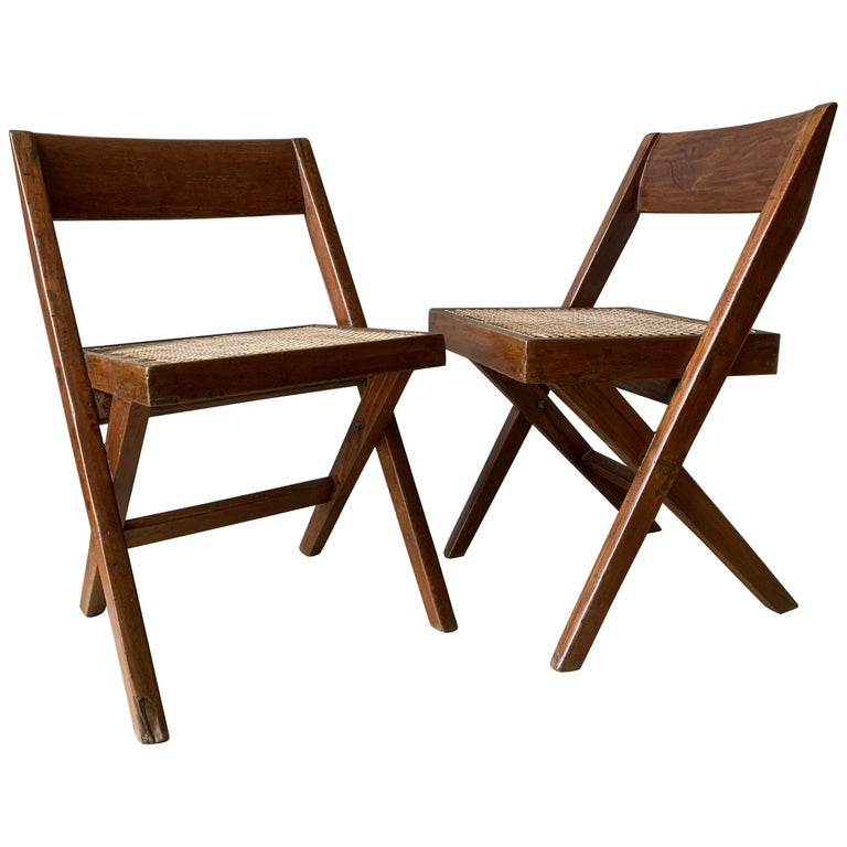 Pair of Jeanneret Library Chairs For Sale