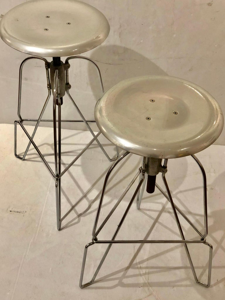 Pair Of Jeff Covey Stools With Swivel Tops For Herman