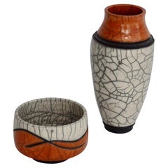Pair of Jeff Hale Studio Crackle Glaze Raku Stoneware Vessels