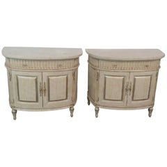 Pair of Jeffco Distressed Painted Marble Top Commodes