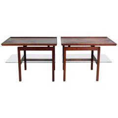 Pair of Jens Risom Cantilevered Walnut Side Tables