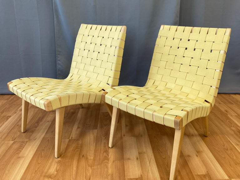 Pair of Jens Risom for KnollStudio Lounge Chairs, Maple with Maize Webbing, 2013 3