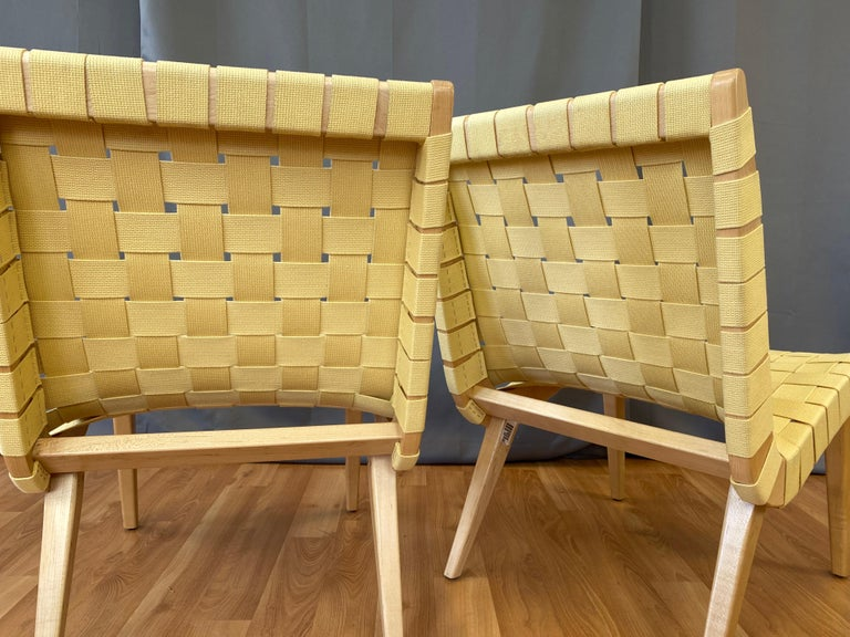 Pair of Jens Risom for KnollStudio Lounge Chairs, Maple with Maize Webbing, 2013 4