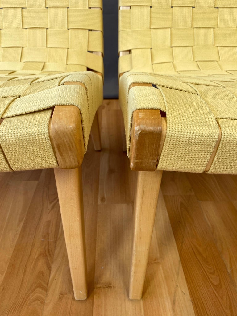 Pair of Jens Risom for KnollStudio Lounge Chairs, Maple with Maize Webbing, 2013 7