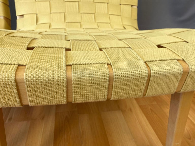 Pair of Jens Risom for KnollStudio Lounge Chairs, Maple with Maize Webbing, 2013 8