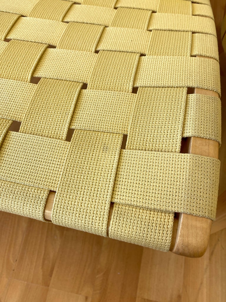 Pair of Jens Risom for KnollStudio Lounge Chairs, Maple with Maize Webbing, 2013 9