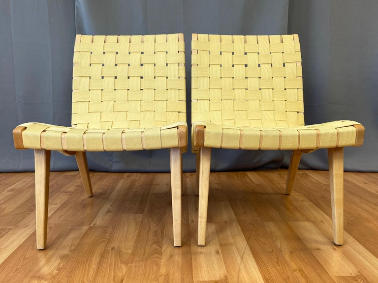 American Pair of Jens Risom for KnollStudio Lounge Chairs, Maple with Maize Webbing, 2013
