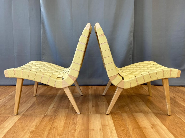 Woven Pair of Jens Risom for KnollStudio Lounge Chairs, Maple with Maize Webbing, 2013