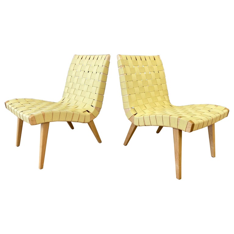 Pair of Jens Risom for KnollStudio Lounge Chairs, Maple with Maize Webbing, 2013