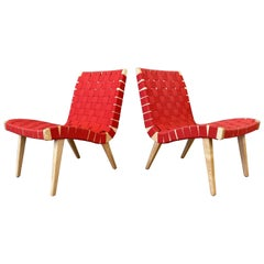Pair of Jens Risom for KnollStudio Lounge Chairs, Maple with Red Webbing, 2013