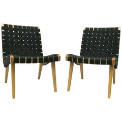 Pair of Jens Risom Lounge Chairs for Knoll with Black Webbing