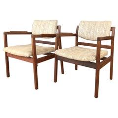 Pair of Jens Risom Walnut Arm Chairs Circa 1960s