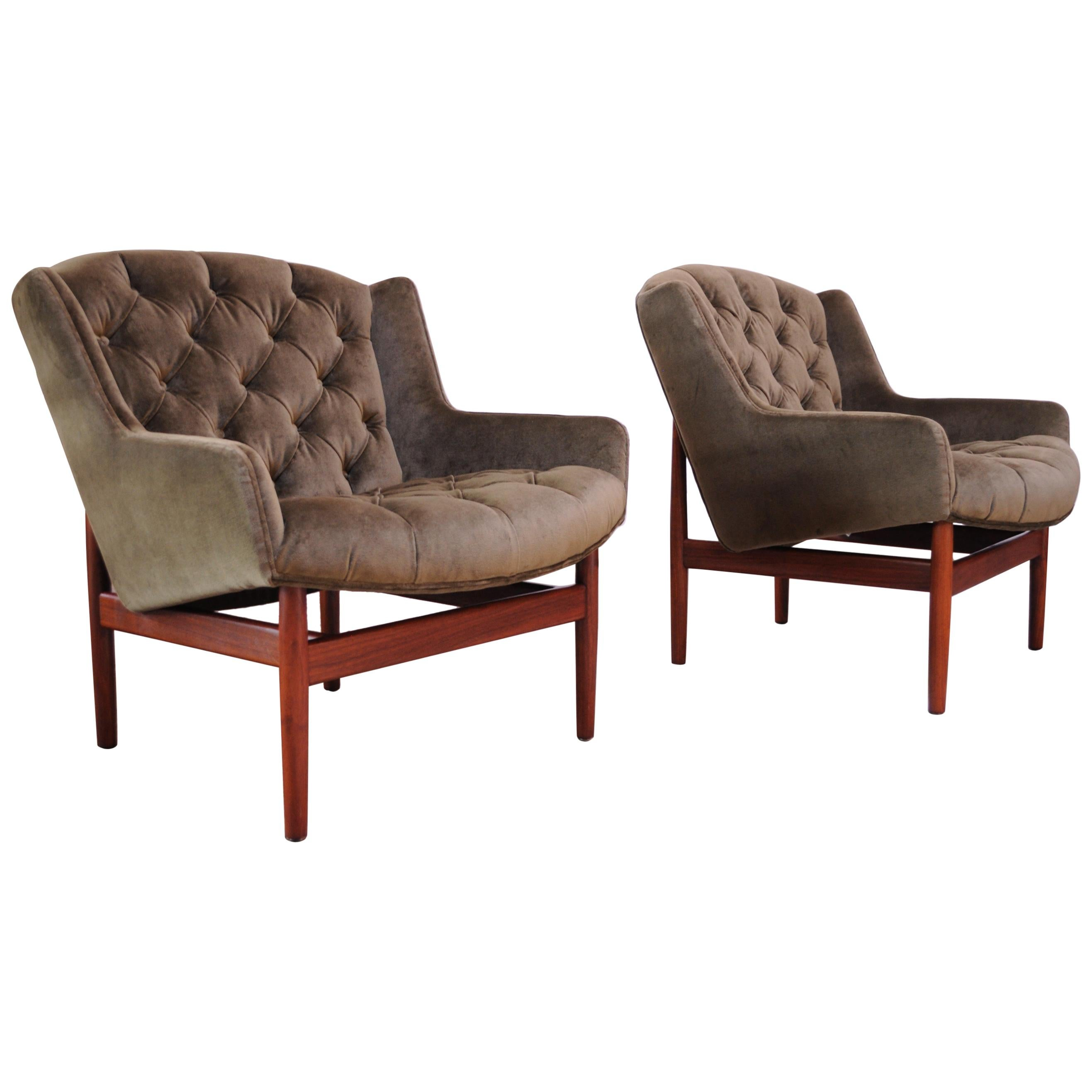 "Pair of Jens Risom Walnut ""Floating"" Lounge Chairs in Olive Velvet"