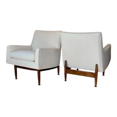 Jens Risom Walnut Lounge Chairs, 1953 a Pair Midcentury