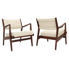 Pair of Jens Risom Walnut Lounge Chairs New Upholstery