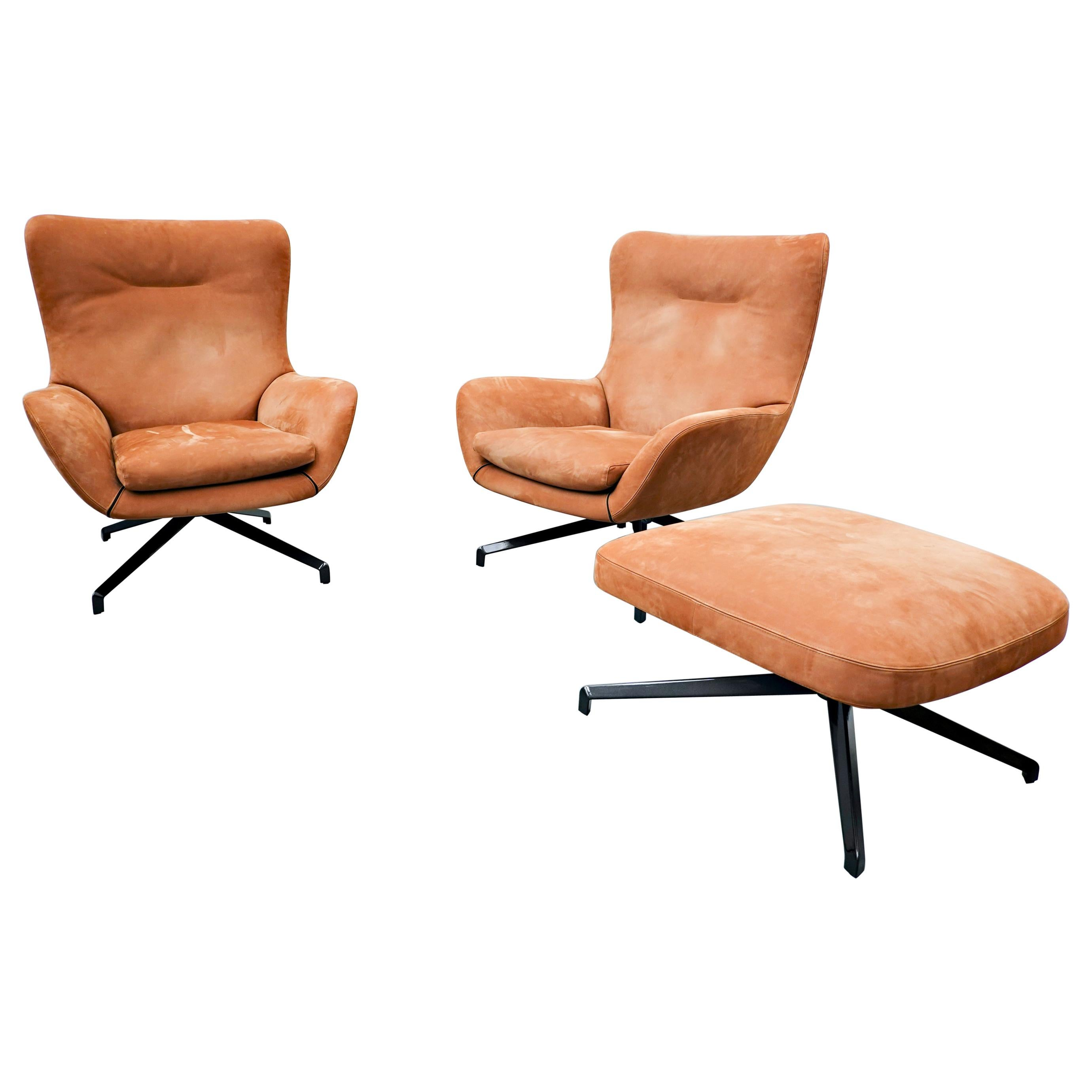 Pair of 'Jensen' Armchairs and Ottoman by Rodolfo Dordoni for Minotti