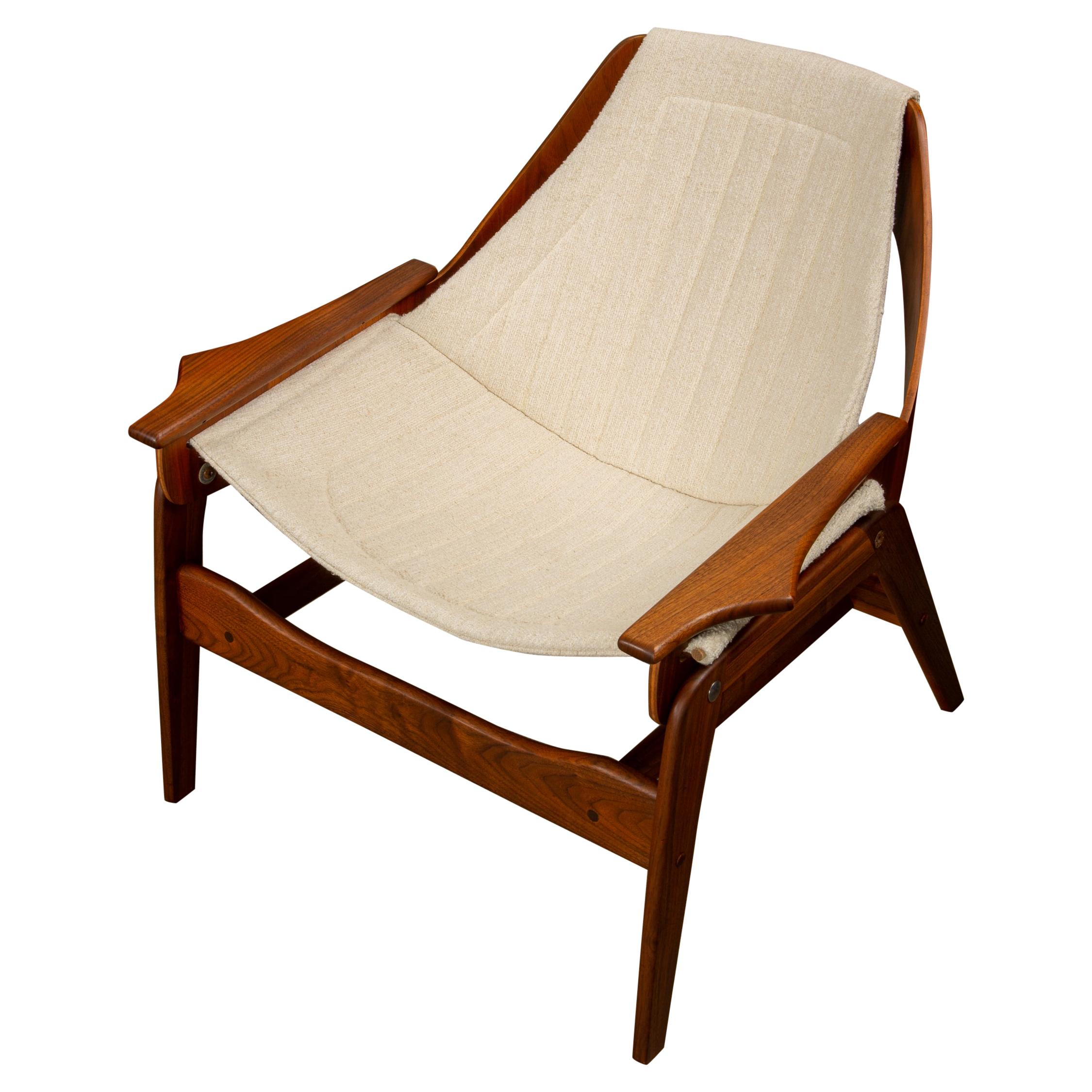 Pair Of Jerry Johnson Walnut Sling Lounge Chairs
