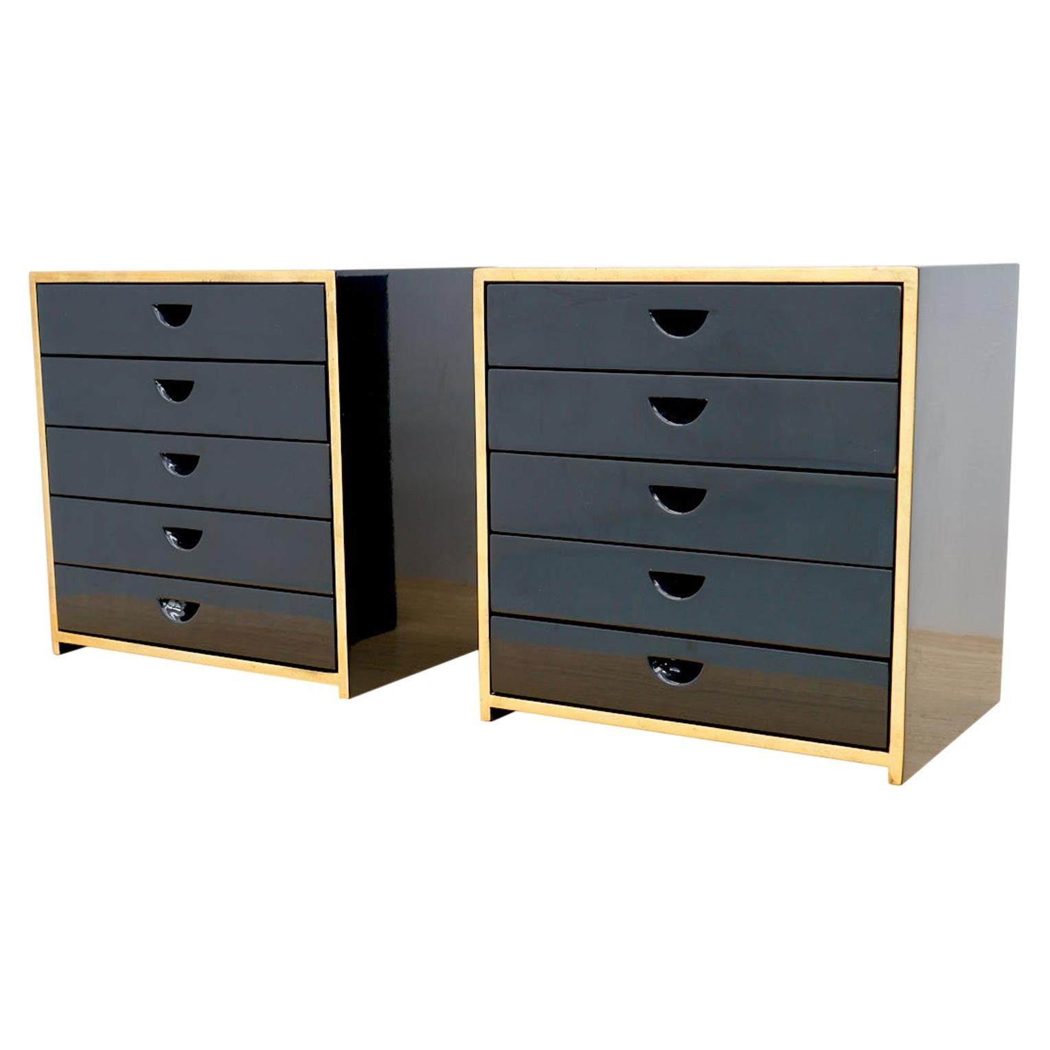 Pair of Jewelry Cabinets in Black Lacquer Attr. to Jean-Claude Mahey