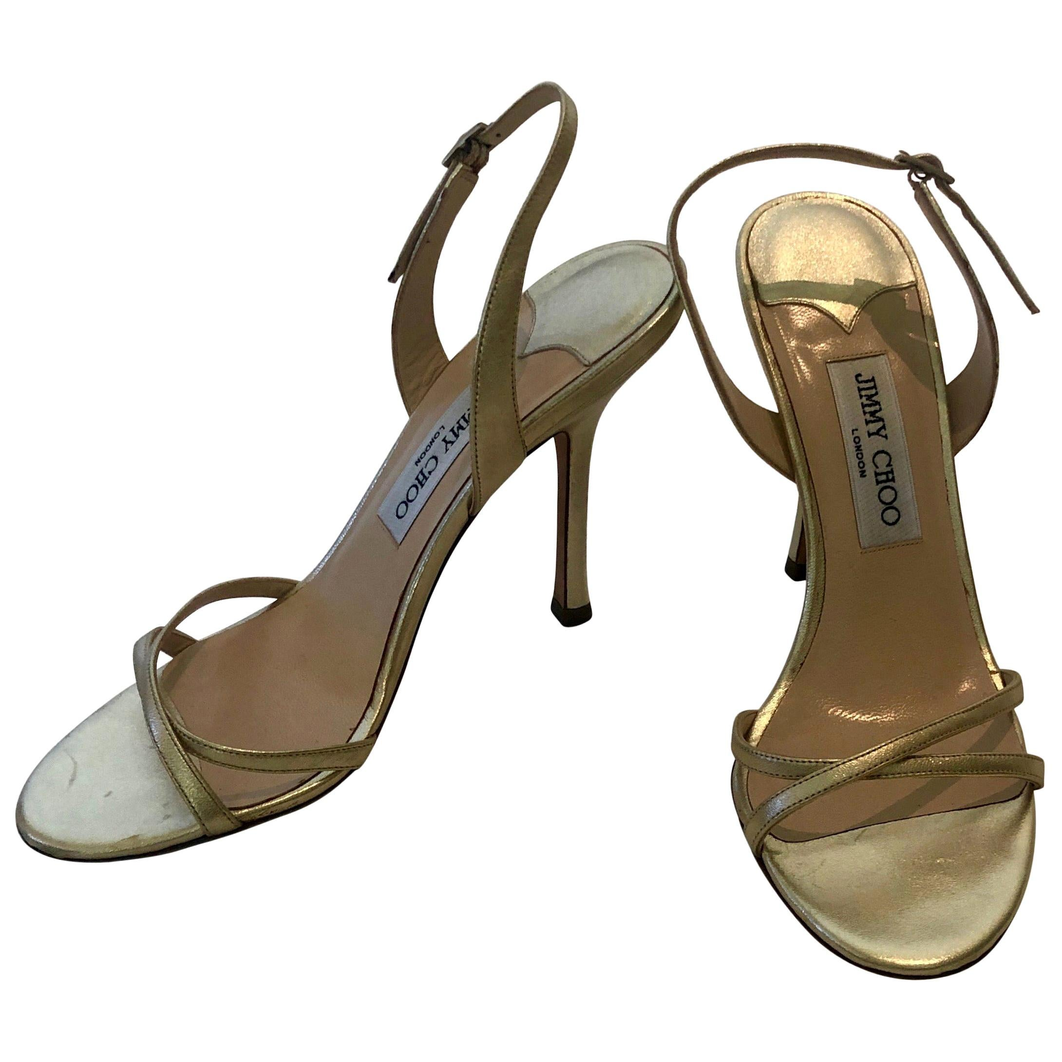 Pair of Jimmy Choo Lance Strappy Metallic Gold Stiletto Leather Sandal