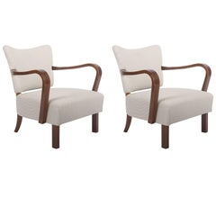 Pair of Jindrich Halabala H-237 Art Deco Armchairs