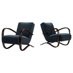 Pair of Jindrich Halabala Lounge Chairs, Czech-Republic, circa 1930s