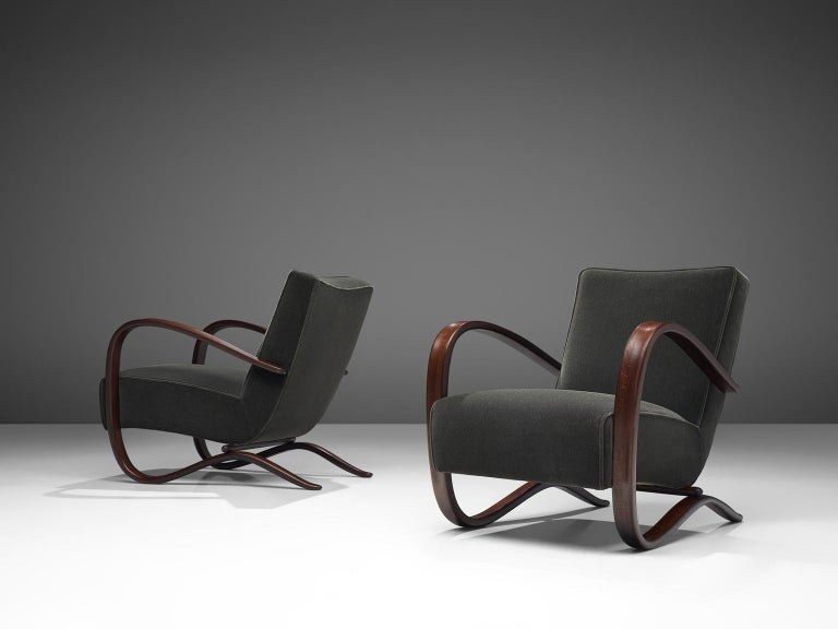 Mid-Century Modern Pair of Jindrich Halabala Lounge Chairs Reupholsteredin Mohair Upholstery For Sale