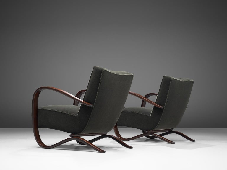 Czech Pair of Jindrich Halabala Lounge Chairs Reupholsteredin Mohair Upholstery For Sale