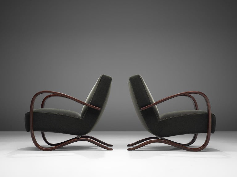 Pair of Jindrich Halabala Lounge Chairs Reupholsteredin Mohair Upholstery In Excellent Condition For Sale In Waalwijk, NL