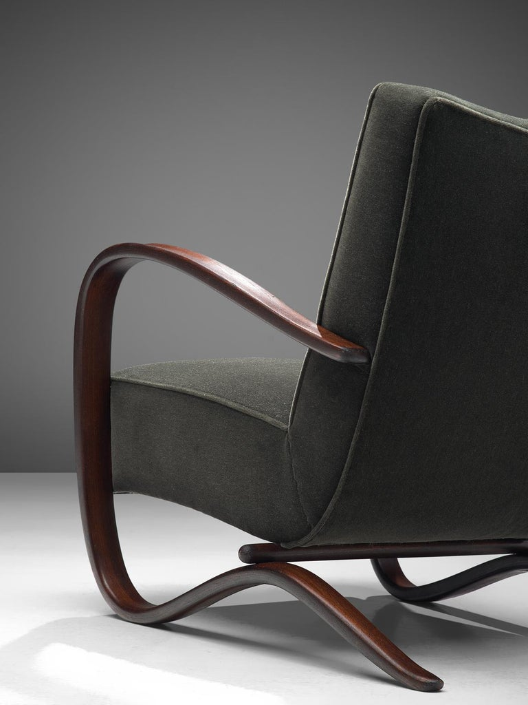 Mid-20th Century Pair of Jindrich Halabala Lounge Chairs Reupholsteredin Mohair Upholstery For Sale