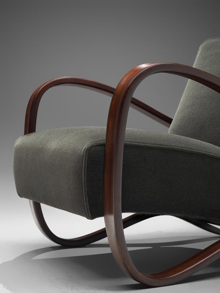 Fabric Pair of Jindrich Halabala Lounge Chairs Reupholsteredin Mohair Upholstery For Sale