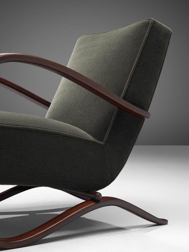 Pair of Jindrich Halabala Lounge Chairs Reupholsteredin Mohair Upholstery For Sale 1